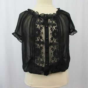 Sheer Black Button Up Floral Lace Short Sleeve S